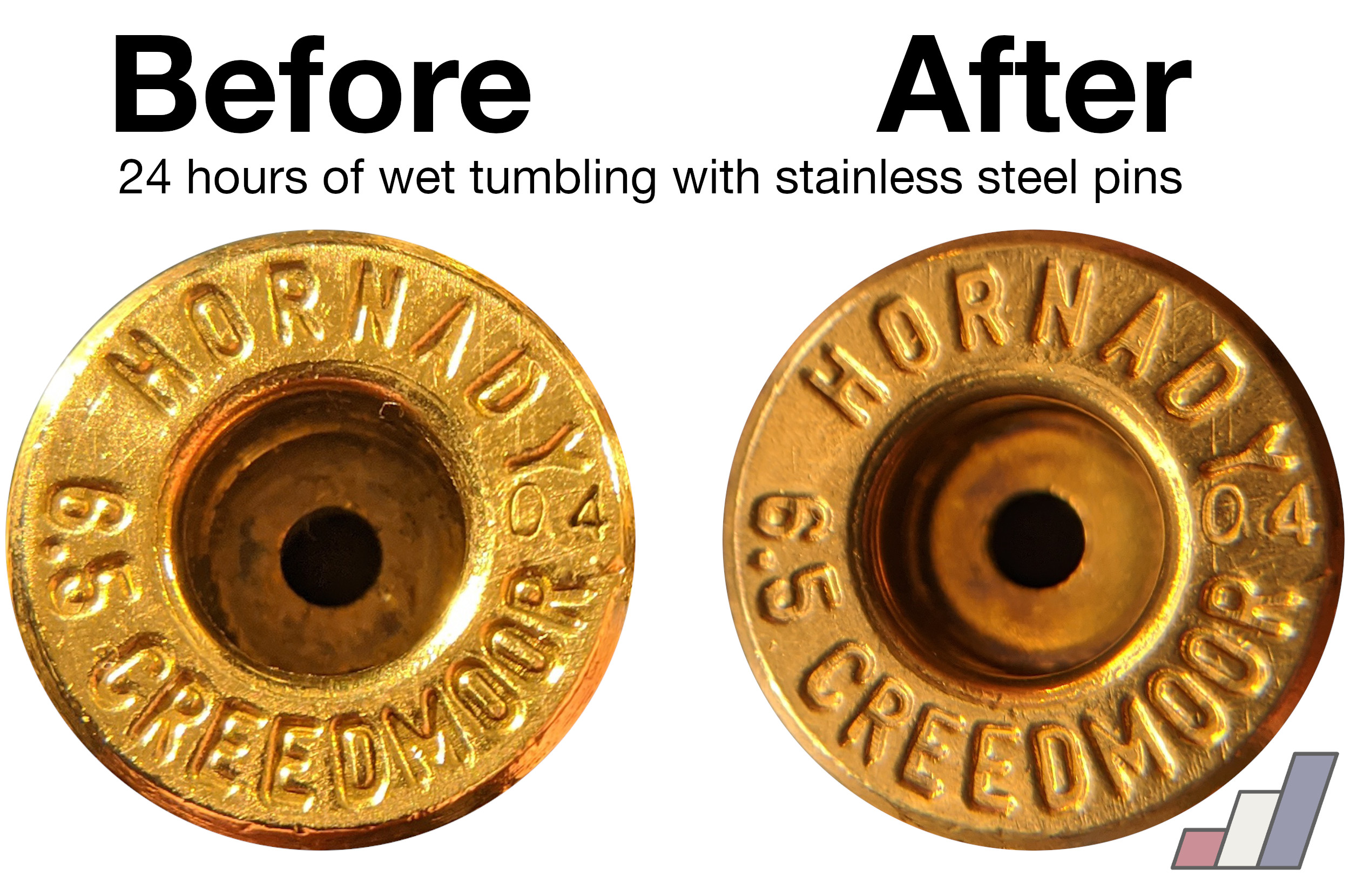 Hornady 6.5mm Creedmoor case microstamped with `04`, before and after 24 hours of wet tumbling with stainless steel media.